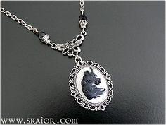 Unicorn Cameo Necklace Black Horse Gothic Jewelry by SKAIOR Designs  http://www.skaior.com