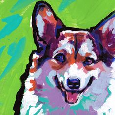 "Pembroke Welsh Corgi portrait art print of pop dog art painting bright colors 12x12"" LEA by BentNotBroken on Etsy"