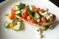 Garden tomato, cucumber, mozzarella, and mint on a toasted baguette