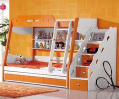 Orangenes Etagenbett Sahara Für Kinder Und Jungendliche. #Etagenbett  #Jugendzimmer #Kinderzimmer #Orange