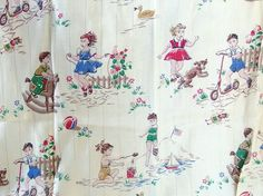 This fabulous set of childrens bark cloth curtains / pinch pleat drapes are adorable! It features boys and girls at play - jumping rope, at the beach...