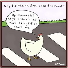 """Even chickens have """"exposure therapy""""---John would be so happy! Mental Health Humor, Social Work Humor, Chicken Jokes, Psychology Jokes, School Psychology, Therapy Humor, Therapy Quotes, Exposure Therapy, Funny Quotes"""