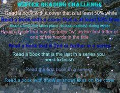 Winter reading challenge! Photo has been altered, originally found at https://www.flickr.com/photos/lalofont/155516890/in/photolist-eK4KG-aYt4eB-7HrZ7R-aV3JNV-aXZy3Z-8GTCat-7uFFNR-55VEyd-7hNraU-4kHRBi-bEUn7H-y43YL-9ZxuR-4pLQNC-7rmkwB-7sutUr-MKB6d-dXShFb-8GGEXg-DjD4Ub-7yQkh5-jGAyPZ-WrS9-7r2rvp-sUJ4r-pDeSoM-7r2r7e-7HvV6u-A1VQf-zViMX-5M1SHX-4nozWm-5HRHoD-zZH8c-brotG4-9jJbHJ-5cBxuJ-dLgxBN-61dFy2-aiwZvr-CrusYY-2QHti-5hxV96-vkMDJ-7rX2xo-AoQLH-AoQMM-9LiaD-dMZhet-b9xz6V