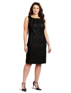 Calvin Klein Women's Shift Dress With Zipper Detail, Black, 14W Calvin Klein. $54.62