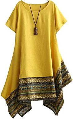 Vogstyle Women's Summer Cotton Linen Short Sleeve Tee Shirt Dress Irregular Hem Tunic Yellow M African Fashion Dresses, African Dress, Fashion Outfits, Dress Fashion, Indian Dresses, Kurta Designs, Blouse Designs, Dress Designs, Blouse Styles