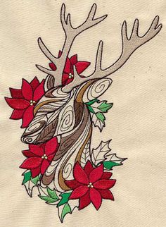 Embroidery Designs at Urban Threads - Doodle Reindeer and Poinsettias