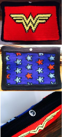 Crocheted Wonder Woman Laptop Sleeve.