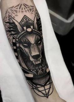 Resultado de imagen para anubis tattoo Retro Tattoos, Dope Tattoos, Leg Tattoos, Body Art Tattoos, Tattoos For Guys, Script Tattoos, Arabic Tattoos, Dragon Tattoos, Flower Tattoos