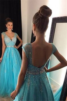 Ball Gown Prom Dress,V-neck Prom Dress,Cap Sleeves Beading Evening Dress,Sexy Backless Long Tulle Prom Dresses Evening Dresses,N87