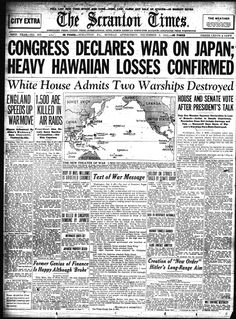 Attack on Pearl Harbor, The Scranton Times from Dec. Pearl Harbor 1941, Pearl Harbor Hawaii, Pearl Harbor Attack, Us History, American History, Day Of Infamy, Remember Pearl Harbor, Country Music Concerts, Journals