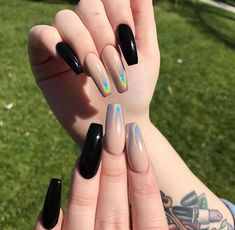 30 incredible acrylic black nail art designs ideas for long nails Colorful Nail Designs, Acrylic Nail Designs, Nail Art Designs, Chrome Nails, Matte Nails, Stiletto Nails, Uñas Kylie Jenner, Wedding Nail Polish, Black Nail Art