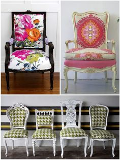 Bring harmony to a group of mismatched chairs by reupholstering with matching fabric. Nice variation
