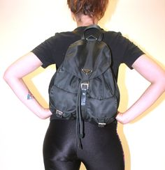 90s mini backpack / faux leather bag / esprit pouch / drawstring ...