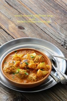 Smoky Roasted Cauliflower Soup with Herbed Chickpea Dumplings {Vegan; Grain-Free; Gluten-Free}