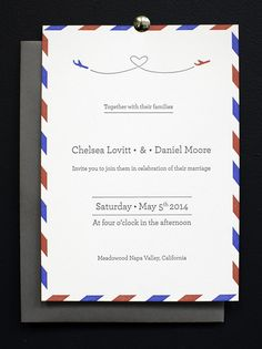 Air Mail Letterpress Wedding Invitations designed by Ramona Todoca for Campbell Raw Press