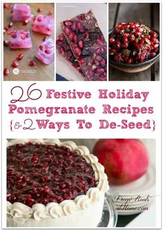 26 Festive Holiday Pomegranate Recipes {& 2 Ways To De-Seed} Sweet Recipes, Real Food Recipes, Dessert Recipes, Desserts, Drink Recipes, Delicious Recipes, Pomegranate Recipes, Breakfast For Kids, Health Breakfast