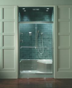 This semi-custom shower enclosure showcases Kohler's Memoirs line. The shower base is prefabricated and designed to complement the design and lines of the Memoirs suite flawlessly, giving this shower enclosure a custom look without the full custom price. Ada Bathroom, Master Bathroom, Bathroom Ideas, Bathrooms, Small Bathroom, Bathtub Doors, Frameless Shower Doors, Philadelphia, Montgomery