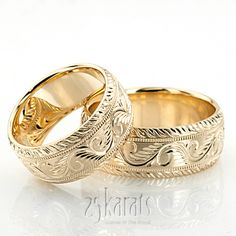 Chic Hand Engraved Milgrain Wedding Band Set