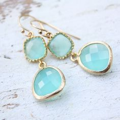tenthings drops of jupiter aqua gold earrings from TenThings Jewelry