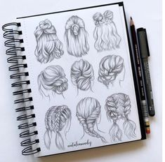 Amazing Hair Drawing Ideas & Inspiration Brighter Craft Source byIf you're struggling to draw hair, then these hair drawing tips may prove to be useful.Need some drawing inspiration? Here's a list of over 30 amazing hair drawing ideas and inspirati Pencil Art Drawings, Art Drawings Sketches, Cute Drawings, Drawings Of Hair, Amazing Drawings, Realistic Drawings, Hair Sketch, Hair Style Sketches, Drawing Techniques