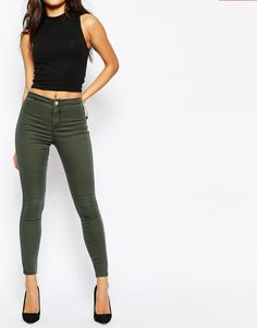 ASOS+Rivington+High+Waisted+Jeggings+in+Washed+Khaki