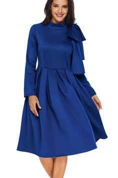 Joansam New In Burgundy/Blue/Purple Bowknot Embellished Mock Neck Pocket Dress Elegant Woman Casual Party Wear Big Swing Pleated Dresses Streetwear, Black Women Fashion, Blue Fashion, Embellished Dress, Blue Dresses, Skater Dresses, Pleated Dresses, Blue Outfits, Party Dresses