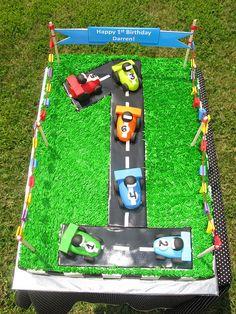 #1 Race Car Cake