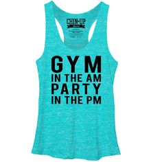 CHIN UP Women's - Gym in the AM Party in the PM Racerback Tank www.chinupapparel.com