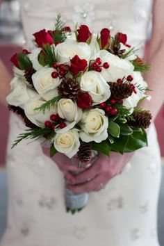 Have Yourself A Merry Christmas Wedding – Decor Inspiration Bride carrying white rose bouquet with pine cones and holly for winter Christmas bouquet Christmas Wedding Flowers, Winter Wedding Decorations, Wedding Themes, Wedding Set, Winter Wedding Bouquets, Wedding Table, Wedding Ceremony, Vintage Christmas Wedding, Wedding Colors