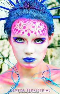 Fantasy Makeup Contest Entry, pink and blue fairy makeup