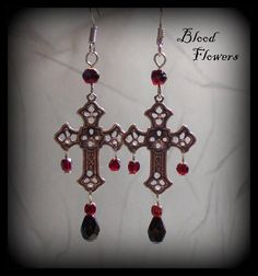 DEVOTION Gothic Silver Cross Earrings with Garnets by Blood Flowers