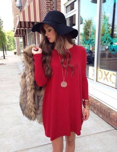 Red casual long sleeved dress/sweater dress worn with an adorable black hat and short sleeve furry coat!