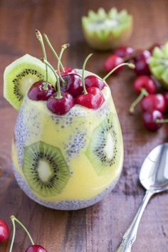 Protein and fiber rich chia seed pudding layered with sweet coconut mango puree, fresh kiwi and topped with juicy cherries.