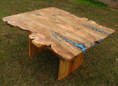 I am in LOVE with this live edge dining room table. Cracks are inlaid with turquoise. O - M - G!!!