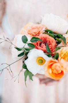 peach wedding bouquet, photo by Lora Grady Photography http://ruffledblog.com/bowties-and-bourbon-southern-wedding-inspiration #flowers #weddingbouquet