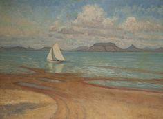 Magyar festő - Southern view with Badacsony Sailboats, Painters, Southern, Art, Sailing Yachts, Art Background, Kunst, Sailboat, Performing Arts