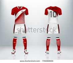 c1b7ae093 3D realistic of front and back of red soccer jersey t-shirt with pants and  socks on shop backdrop. Concept for soccer team uniform or football apparel  ...