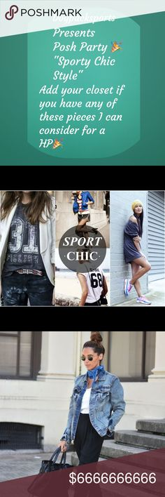 "THEME HAS BEEN ANNOUNCED!!  ""SPORTY CHIC 10/11/17 make it your own!  I added some pics that depict this style for ya all to get a better picture of this category!  Have fun with this one!  PLEASE COMMENT ONLY COMPLIANT POSH CLOSETS WITH PIECES IN YOUR CLOSET THAT MATCH THIS STYLE!  OVER THE NEXT WEEK, I'll comment on my Host Picks for the party, then I'll share them the day of the  party. If you recvd a HP do not post you've gotten one until the party  please! LET THE GAMES BEGIN!  Best of…"