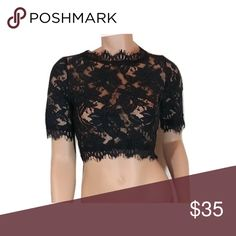 Black Lace Crop Top #430-BM Lace crop top, high neck, side zipper. Cotton/Nylon/Polyester Blend. Hand Wash. True to size. Luxxel Tops Crop Tops