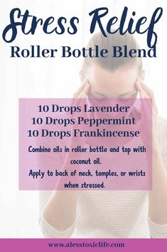 Try these essential oils in a roller bottle with coconut oil to help you wind down and find stress relief Lavender essential oil peppermint essential oil and frankincense. Stress Relief Essential Oils, Essential Oils For Headaches, Essential Oil Diffuser Blends, Best Essential Oils, Relaxing Essential Oil Blends, Lavender Essential Oil Uses, Frankincense Essential Oil Uses, Coconut Essential Oil, Essential Oil Bottles