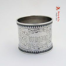 Vintage Coin Silver Napkin Ring 1869
