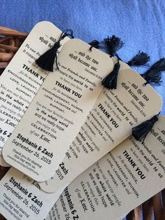 Thank your Friends and Family and offer a beloved memento to all the guests of your Big Day with the Celebration of Love Thank You Bookmark.  Perfectly dainty favors measure approx. 5 1/8 x 2. Each is made of Premium 92 lb Pearlized Paper, adorned with a 2.5 tassel and individually hand cut.  Set of 24  Ships via USPS Priority Mail.  Please Convo me with your names (as you would like them to appear), and your wedding date, when placing your order. I look forward to making your Special Day…