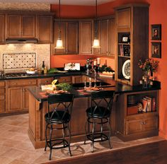 Are you getting bored with a neutral-colored kitchen or pastel-colored kitchen? Then, you can try an orange-colored kitchen for a colorful kitchen in your house. The orange color is able to make your kitchen area looks fresh. Kitchen Colors, Kitchen Remodel, Kitchen Decor, Interior Design Kitchen, Kitchen Colour Schemes, Home Decor, Home Kitchens, Orange Kitchen Walls, Kitchen Design