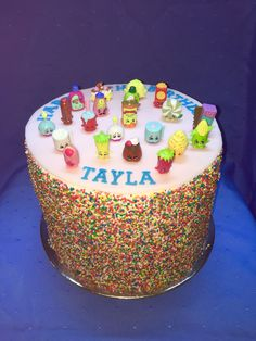 Shopkins themed rainbow layer cake