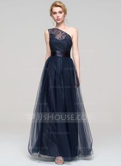 A-Line/Princess One-Shoulder Floor-Length Ruffle Zipper Up Cap Straps Sleeveless No Dark Navy Spring Summer Fall General Plus Tulle Bridesmaid Dress