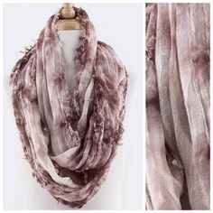 "B26 Textured Raw Edge Tie Dye Mauve Infinity Scarf Tie Dye Infinity Scarf Mauve/ wine $ Ivory  ABSOLUTELY FABULOUS!!!!  Textured tie dye fabric.  100% viscose.  Dress up any outfit day or night. Please check my closet for many more scarves and clothing items.  ‼️ PRICE FIRM UNLESS BUNDLED WITH OTHER ITEMS FROM MY CLOSET ‼️   Length 35""  Width 20"" Boutique Accessories Scarves & Wraps"
