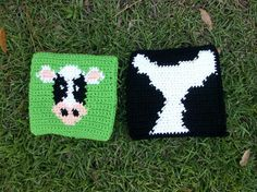 Cow and Cowhide Design Potholder Set of by CoastalCrochetCrafts