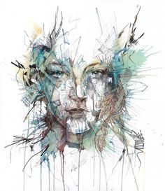 Ink and tea painting by Carne Griffiths.