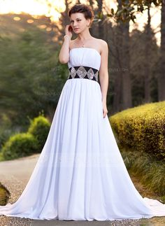 A-Line/Princess Strapless Chapel Train Chiffon Satin Wedding Dress With Sash Beading Sequins (002011756) - JJsHouse