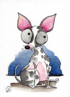 ACEO Original art watercolor painting whimsical dog chihuahua walkies…